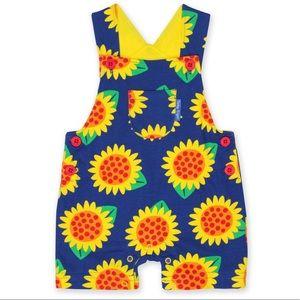 Organic Cotton Sunflower Short Dungarees